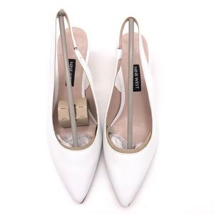 ♥️ NEW! NINE WEST WHITE LEATHER SLING BACK W KITTY